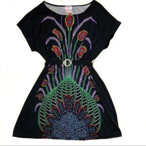 Peacock pattern black midi dress with belt